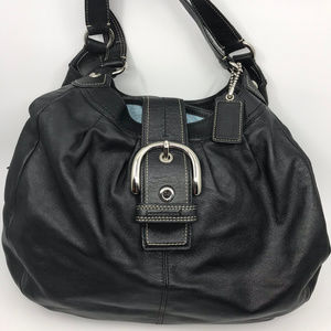 COACH Black Leather Edie Shoulder Bag
